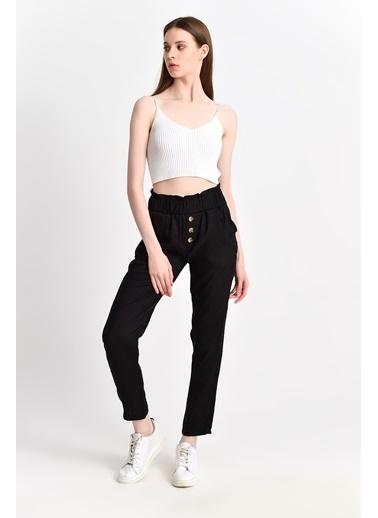 Cottonmood 9283059 Bodrum 3 Düğmeli Sahte Patlı Cepli Pantolon Siyah Siyah
